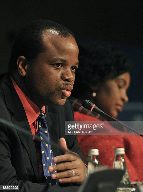 King Mswati III of Swaziland addresses the media at the end of a Southern African Development Community special summit held in Johannesburg on June...