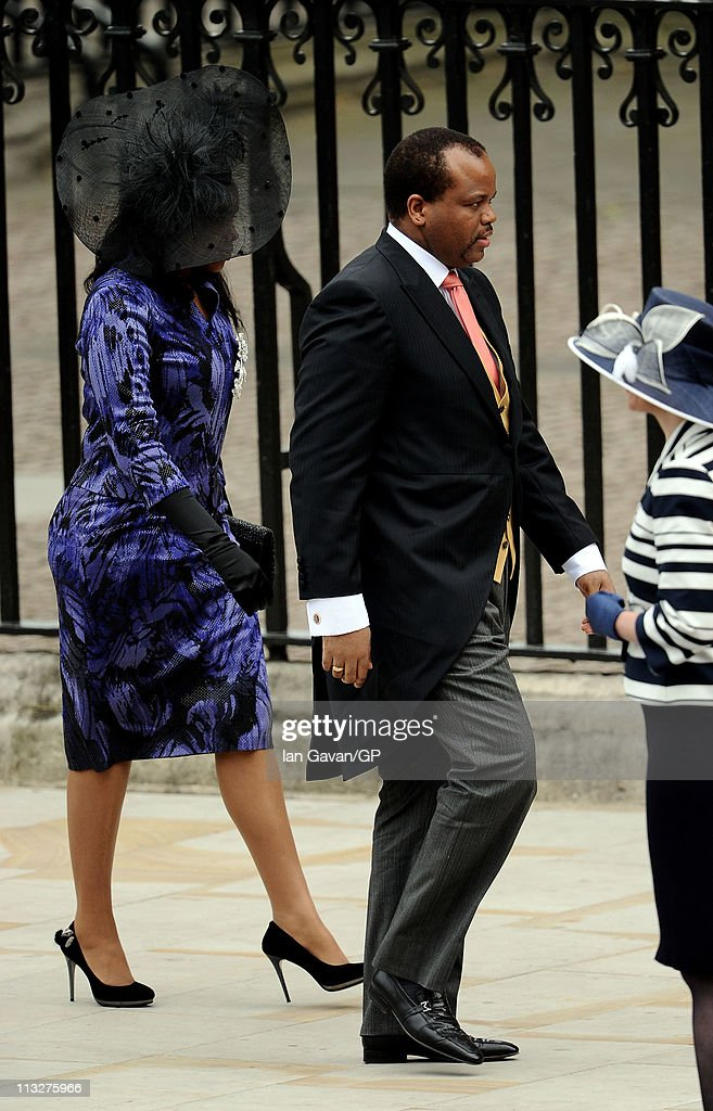 <a gi-track='captionPersonalityLinkClicked' href=/galleries/search?phrase=King+Mswati+III&family=editorial&specificpeople=558940 ng-click='$event.stopPropagation()'>King Mswati III</a> of Swaziland arrives to attend the Royal Wedding of Prince William to Catherine Middleton at Westminster Abbey on April 29, 2011 in London, England. The marriage of the second in line to the British throne is to be led by the Archbishop of Canterbury and will be attended by 1900 guests, including foreign Royal family members and heads of state. Thousands of well-wishers from around the world have also flocked to London to witness the spectacle and pageantry of the Royal Wedding.