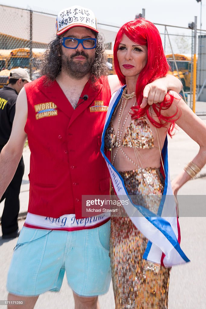 King Neptune Judah Friedlander and Queen Mermaid Carole Radziwill attend the 2013 Mermaid Parade at Coney Island on June 22 2013 in New York City