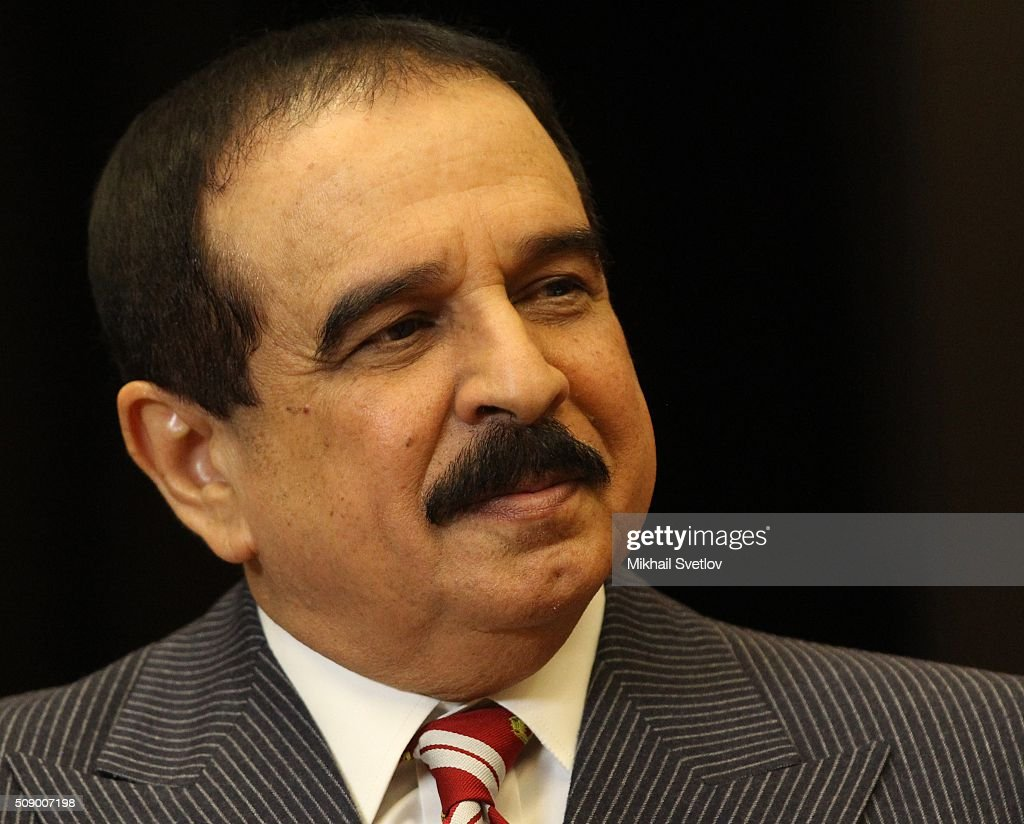 King of Bahrain Hamad bin Isa bin Salman Al Khalifa speaks during a meeting in Bicharov Ruchey State Residence in Sochi, Russia, on February, 8, 2016.Bahrain's King is having a one-day visit to Black Sea resort of Sochi.
