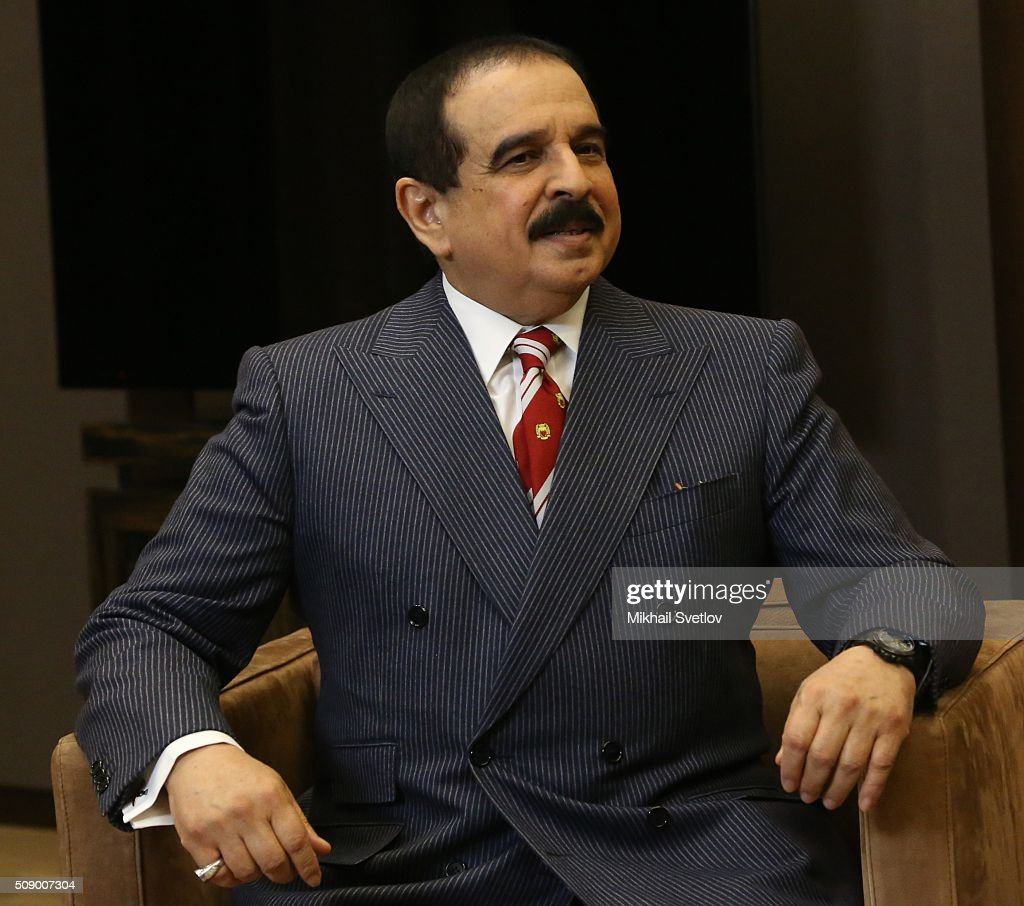 King of Bahrain Hamad bin Isa bin Salman Al Khalifa speaks during a meeting in Bicharov Ruchey State Residence in Sochi, Russia, on February, 8, 2016. Bahrain's King is having a one-day visit to Black Sea resort of Sochi.