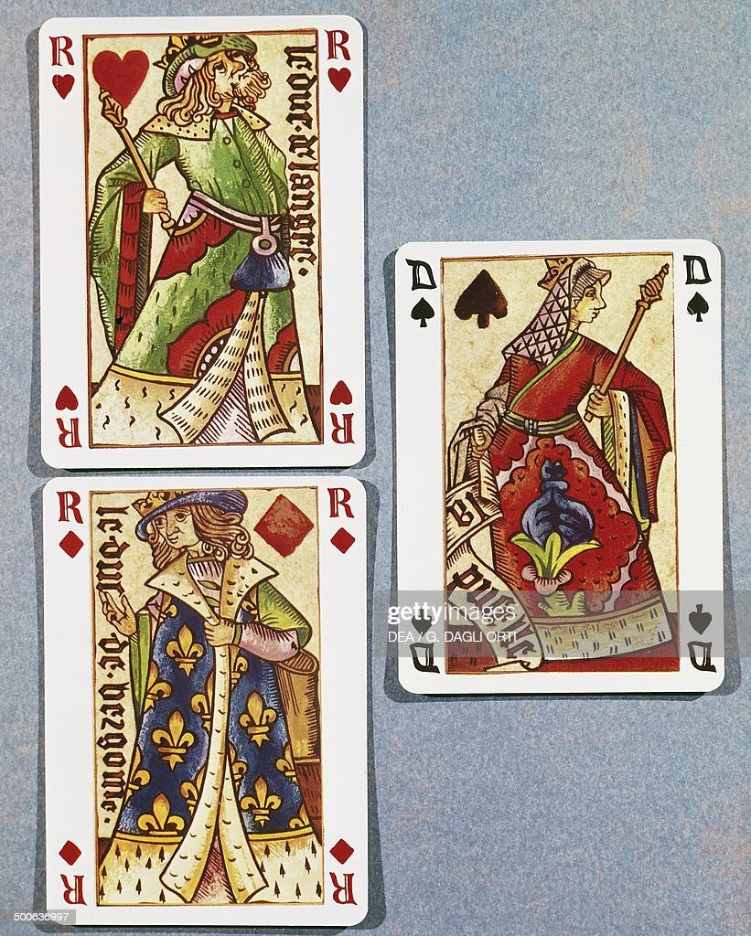 King of hearts Queen of clubs and King of diamonds playing cards attributed to J Personne France 16th century