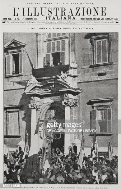 King of Italy Vittorio Emanuele III with Queen Elena and Prince Hereditary Umberto at the balcony of the Quirinale Rome Italy celebration for the...