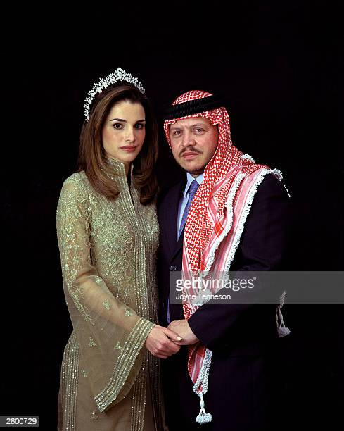 King of Jordan Abdullah II poses with his wife Queen Rania on February 10 2000 in Ahman Jordan