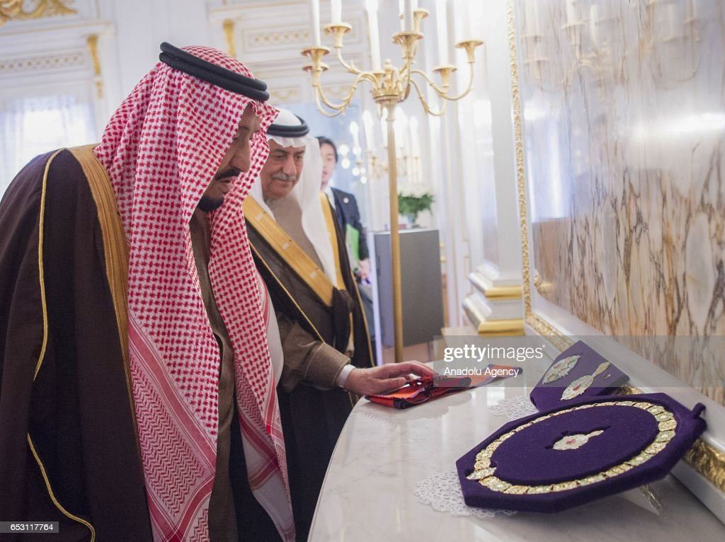 King of Saudi Arabia Salman bin Abdulaziz Al Saud (L) meets Emperor Akihito (not seen) in Tokyo, Japan on March 14, 2017.