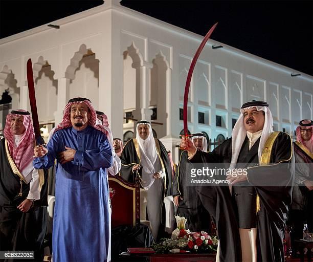 King of Saudi Arabia Salman bin Abdulaziz Al Saud meets with King of Bahrain Hamad bin Isa Al Khalifa at AlSakhir Palace in Manama Bahrain on...