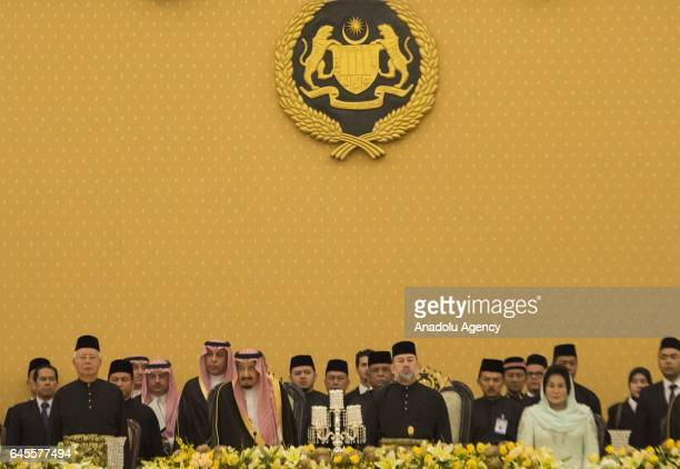 King of Saudi Arabia Salman bin Abdulaziz Al Saud meets with King of Malaysia Muhammad V and Malaysian Prime Minister Najib Razak during his official...