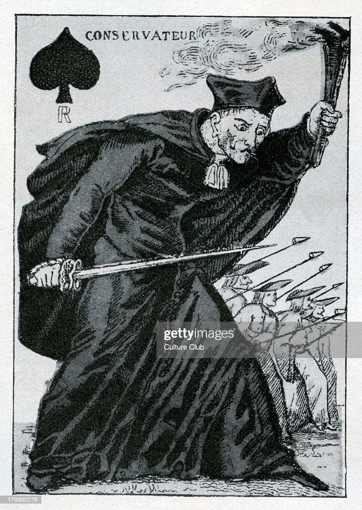a prelate holds a flame ahead of an army on the face of a French playing card Caption reads 'Conservateur'