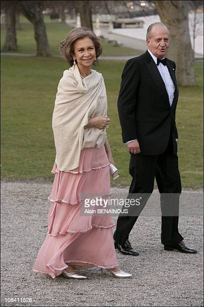 King of Spain Juan Carlos and Queen Sofia in Stockholm Sweden on April 29 2006