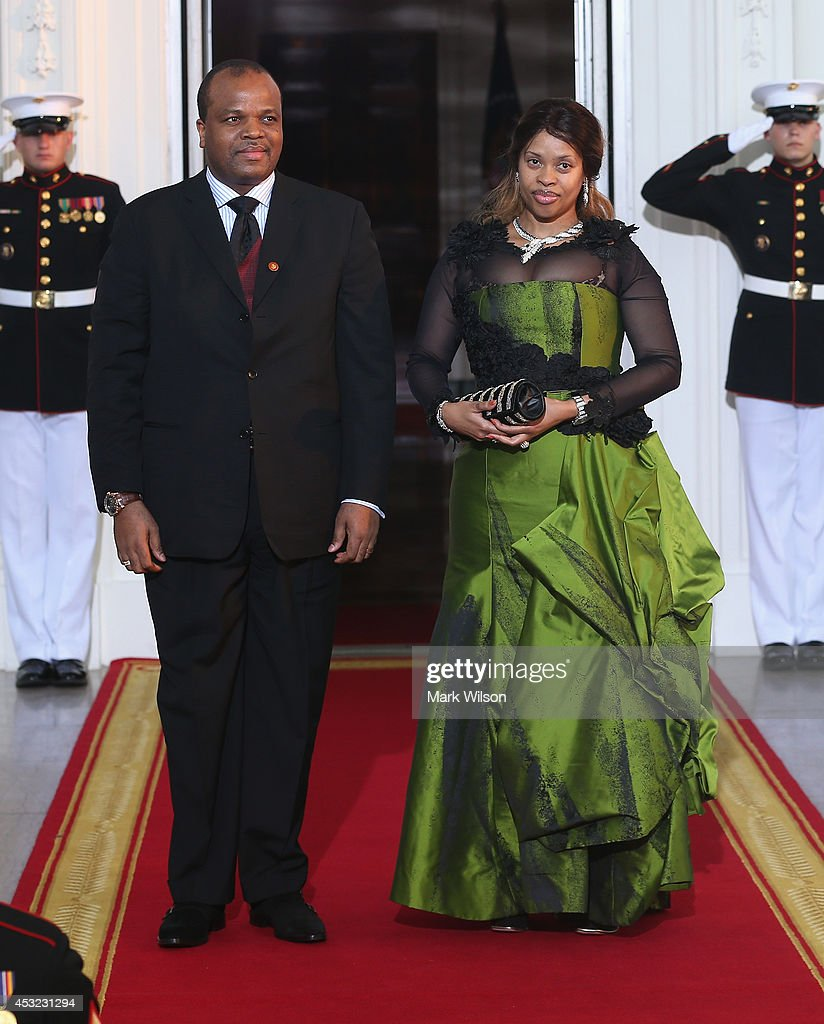 King of Swaziland Mswati III and spouse Inkhosikati La Mbikiza arrive at the North Portico of the White House for a State Dinner on the occasion of the U.S. Africa Leaders Summit, August 5, 2014 in Washington, DC. African leaders are attending a three-day-long summit in Washington to strengthen ties between the United States and African nations.
