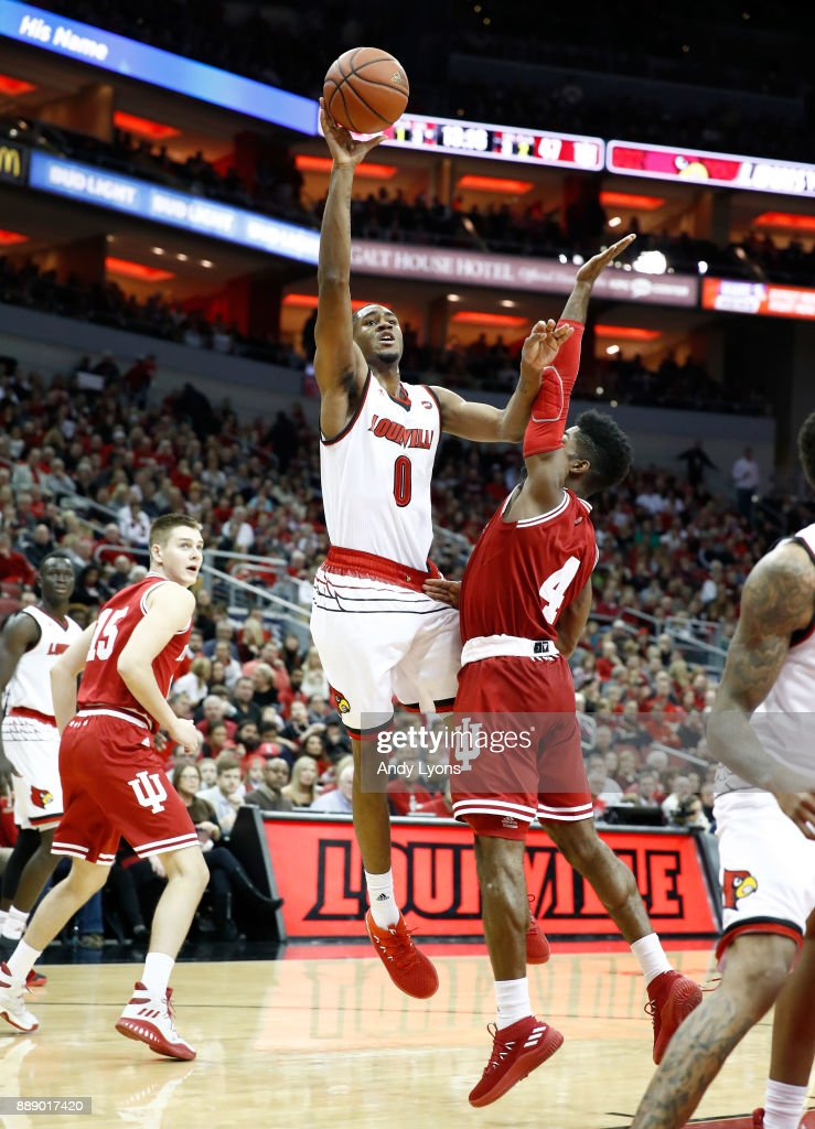 V.J. King #0 of the Louisville Cardinals shoots the ball during the game against the Indiana Hoosiers at KFC YUM! Center on December 9, 2017 in Louisville, Kentucky.