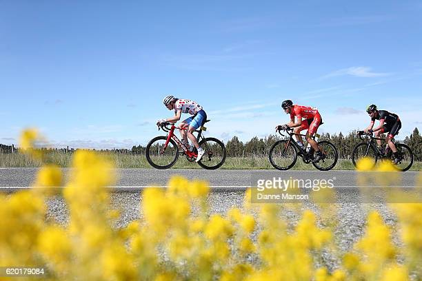 King of the Mountain Ollie Jones of Christchurch leads the way towards Coronet Peak from Mossburn during stage three of the 2016 Tour of Southland on...