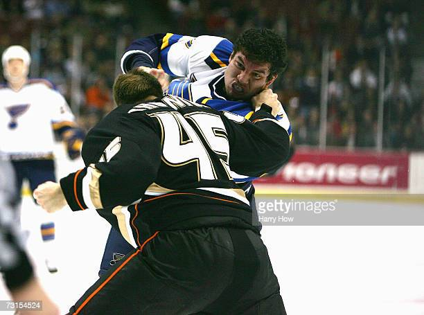 J King of the St Louis Blues fights with Shawn Thornton of the Anaheim Ducks during the first period on January 16 2007 at the Honda Center in...