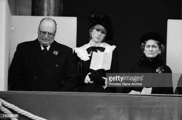King Olav of Norway Princess Diana and Alice Duchess of Gloucester during the Remembrance Sunday service at the Cenotaph 8th November 1981