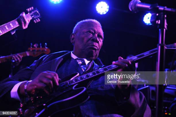 B King performs at the grand opening of BB Kings Blues Club on December 11 2009 in Las Vegas Nevada