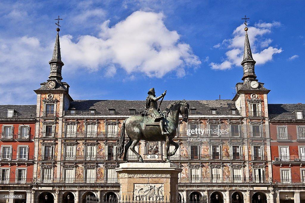 King Philip III landmark in the Plaza Mayor Madrid Spain King Philip III landmark in the Plaza Mayor