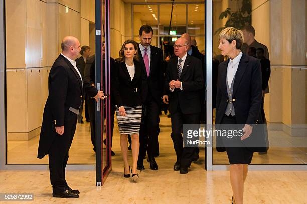 King Philip VI and Queen Letizia of Spain and the President of the German Bundestag Prof Dr Norbert Lammert during the visit at the Bundestag in...