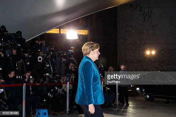King Philip VI and Queen Letizia of Spain are received by the German Chancellor Angela Merkel at the German Chancellery during the visit to Berlin...