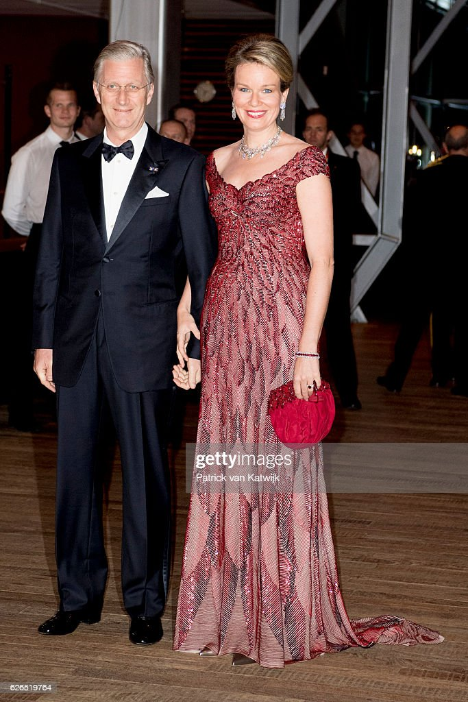 King Philippe and Queen Mathilde at the start of the concert offered by the Belgian King in the Muziekgebouw Aan't IJ Amsterdam on November 29, 2016 in The Hague, Netherlands. Vitalis is supported by the Oranje Foundation and guide young vulnerable people
