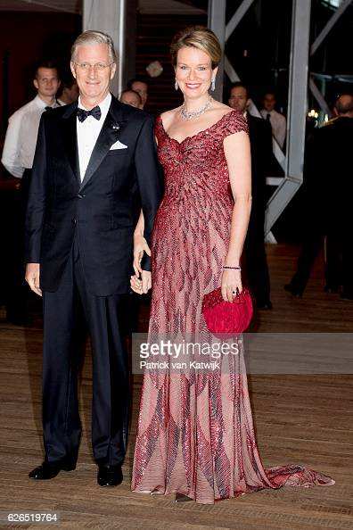King Philippe and Queen Mathilde at the start of the concert offered by the Belgian King in the Muziekgebouw Aan't IJ Amsterdam on November 29 2016...