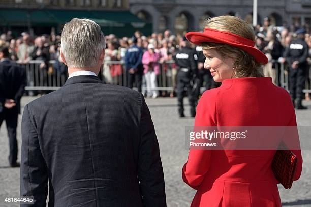 King Philippe and Queen Mathilde await the arrival of Chinese President Xi Jinping and First Lady XiPeng Liyuan during their visit to Bruges on April...