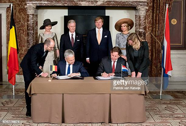 King Philippe and Queen Mathilde of Belgium and King WillemAlexander and Queen Maxima of The Netherlands attend the signing of the treaty Boundary...