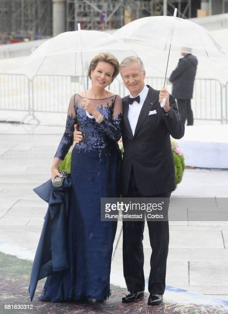 King Philippe and Queen Mathilde of Belgium are seen arriving at the Opera House on the occasion of the celebration of King Harald and Queen Sonja of...