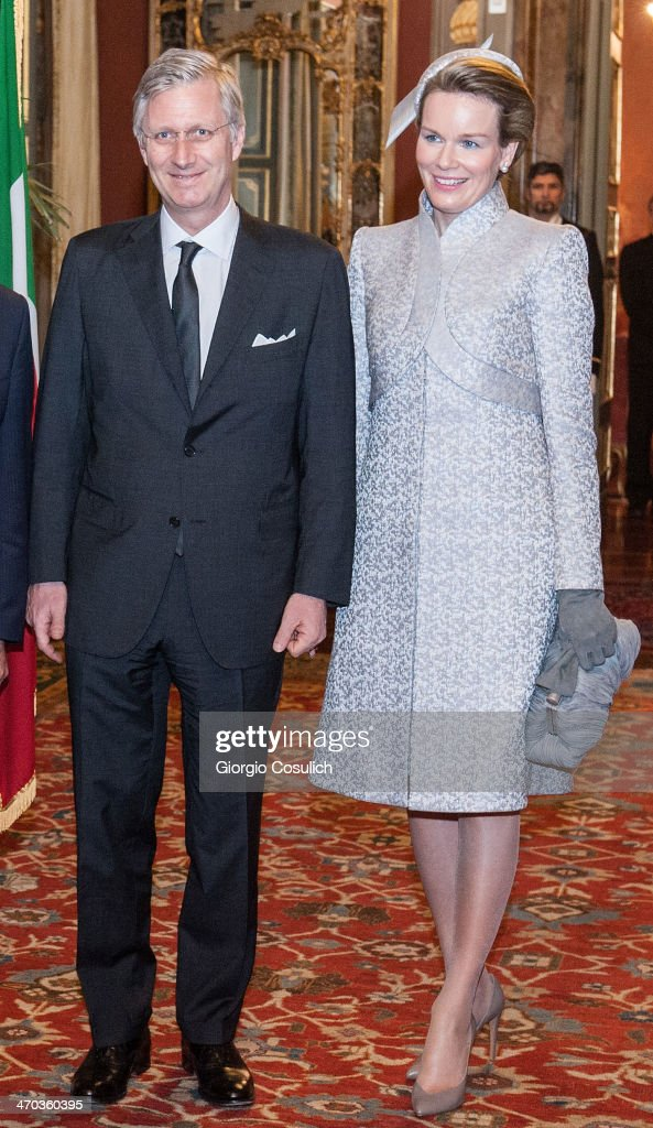 King Philippe and Queen Mathilde of Belgium arrive at Palazzo Giustiniani to meet with Italian President of Senate Pietro Grasso on February 19, 2014 in Rome, Italy.