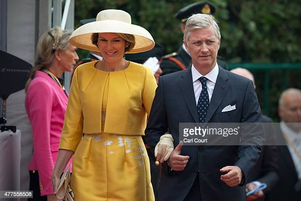 King Philippe and Queen Mathilde of Belgium arrive to attend the official Belgian federal government ceremony to commemorate the bicentenary of the...
