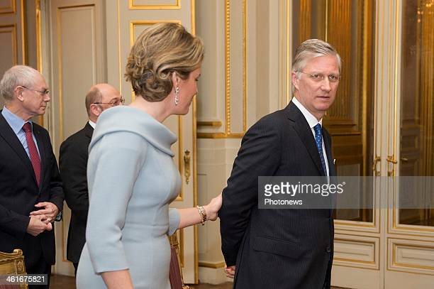 King Philippe and Queen Mathilde of Belgium arrive to host the New Year reception held for the Representants of the European Union on January 10 2014...