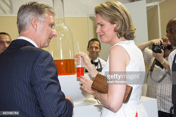 King Philippe and Queen Mathilde of Belgium assist National Day at Place des Palais on July 21 2014 in Brussel Belgium
