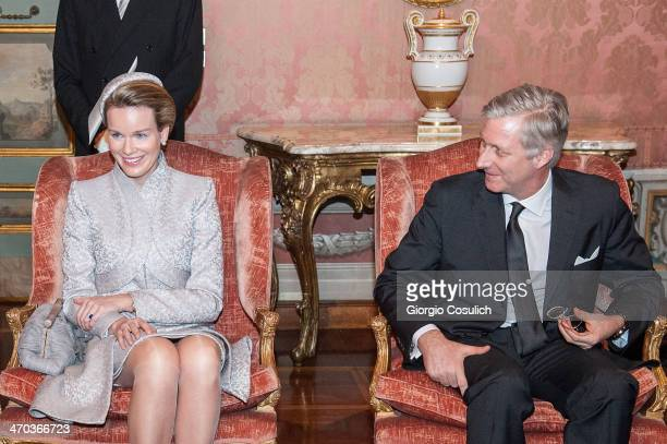 King Philippe and Queen Mathilde of Belgium attend a meeting with Italian President of Senate Pietro Grasso as they arrive at Palazzo Giustiniani on...