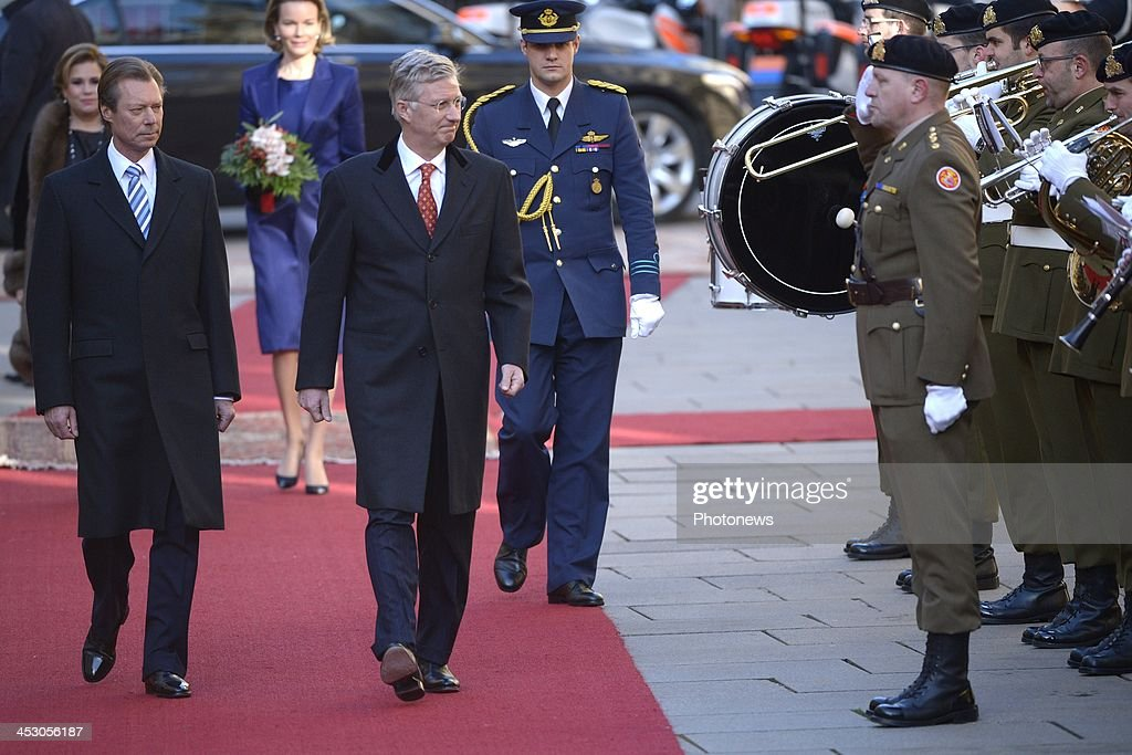 King Philippe (front 2nd L) and Queen Mathilde (back 2nd L) of Belgium attend a welcome ceremony hosted by Henri, Grand Duke of Luxembourg (front L) and Maria Teresa, Grand Duchess of Luxembourg (back L) at Grand Ducal Palace on December 2, 2013 in Luxembourg City, Luxembourg. King Philippe and <a gi-track='captionPersonalityLinkClicked' href=/galleries/search?phrase=Queen+Mathilde+of+Belgium&family=editorial&specificpeople=239189 ng-click='$event.stopPropagation()'>Queen Mathilde of Belgium</a>, accompanied by Belgian Prime Minister Elio Di Rupo and Belgian Foreign Minister Didier Renders, are on a one-day official state visit to Luxembourg.