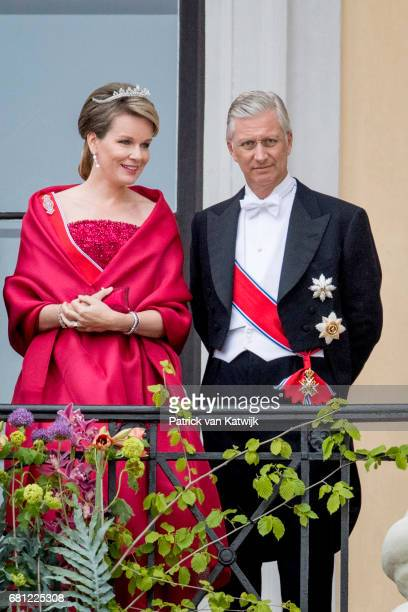 King Philippe and Queen Mathilde of Belgium attend the official Gala dinner at the Royal Palace on May 9 2017 in Oslo Norway King Harald and Queen...
