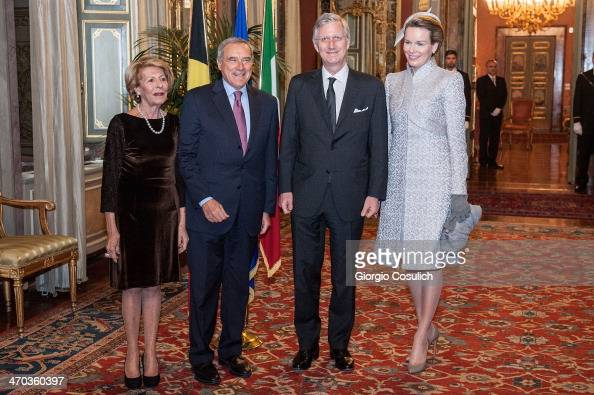 King Philippe and Queen Mathilde of Belgium greet Italian President of Senate Pietro Grasso and his wife Maria Fedele as they arrive at Palazzo...