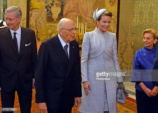 King Philippe and Queen Mathilde of Belgium meet with President Giorgio Napolitano on February 19 2014 in Rome Italy King Philippe and Queen Mathilde...