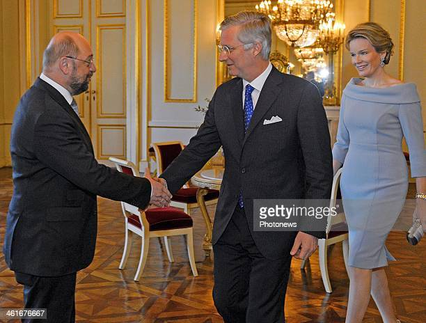 King Philippe and Queen Mathilde of Belgium meets with European Parliament President Martin Schulz during a reception on January 10 2014 in Brussels...