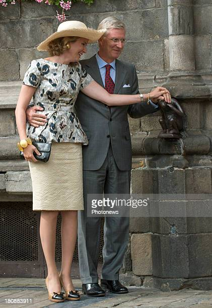 King Philippe and Queen Mathilde of Belgium visit the province of Hainaut on September 17 2013 in Mons Belgium