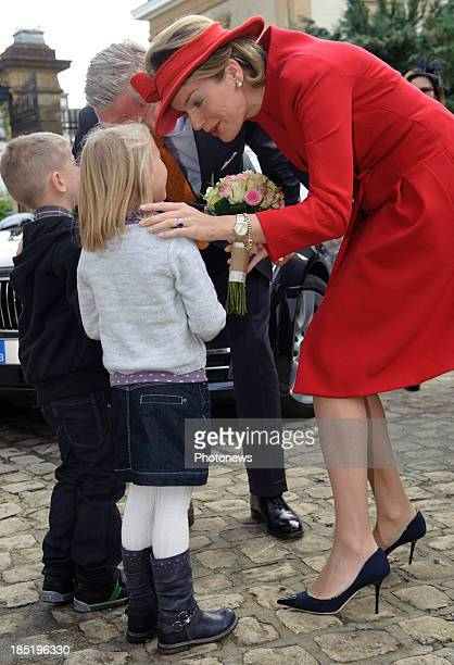 King Philippe and Queen Mathilde of Belgium visit the province of Luxembourg on October 18 2013 in Arlon Belgium