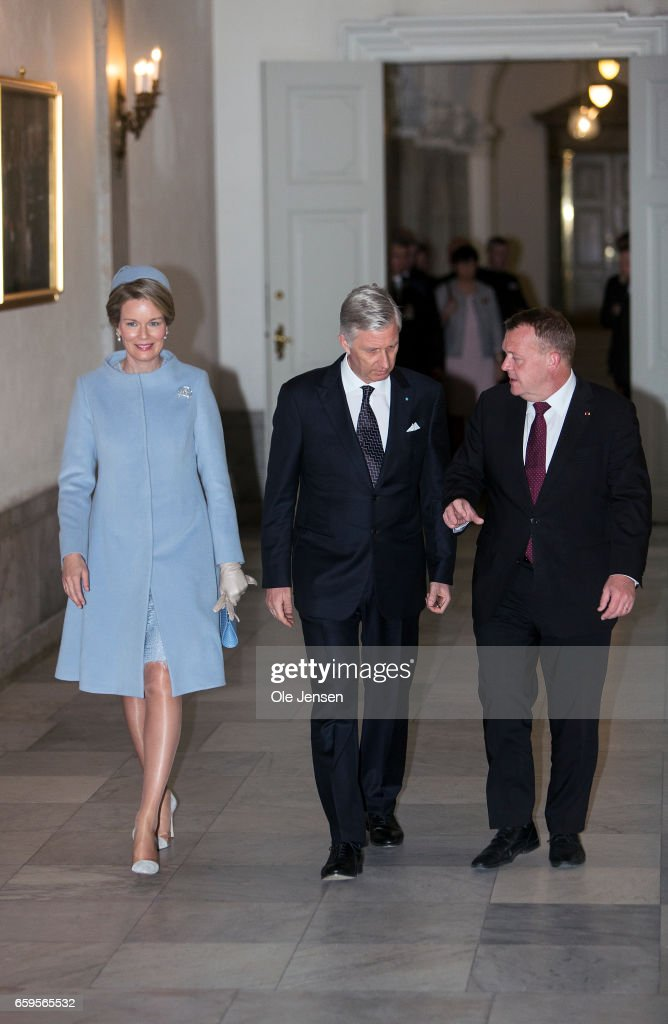 King Philippe and Queen Mathilde of Belgium (L) visits Danish Prime Minister Lars Lokke Rasmussen (R) at the PM's office at Christiansborg on March 28, 2017 in Copenhagen, Denmark. The royal Belgian couple will be on a state visit from March 28 till March 30.