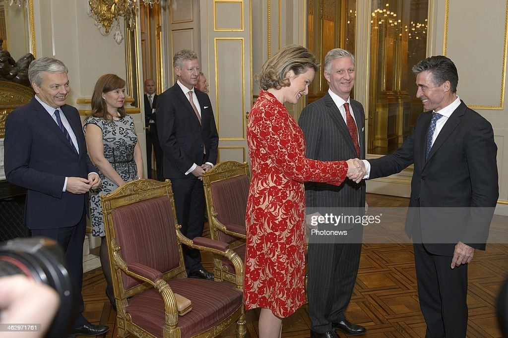 King Philippe and Queen Mathilde pictured during the New Year reception held for the members of the SHAPE and NATO based in Belgium on January 16, 2014 in Brussels, Belgium.