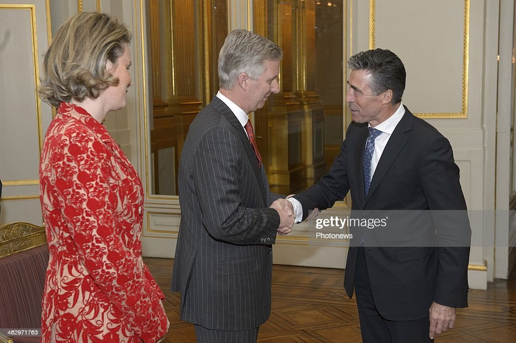 King Philippe and Queen Mathilde pictured during the New Year reception held for the members of the SHAPE and NATO based in Belgium on January 16, 2014 in Brussels, Belgium. King Philippe shaking hands with Anders Fogh Rasmussen.