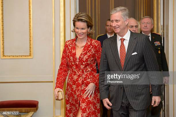 King Philippe and Queen Mathilde pictured during the New Year reception held for the members of the SHAPE and NATO based in Belgium on January 16...