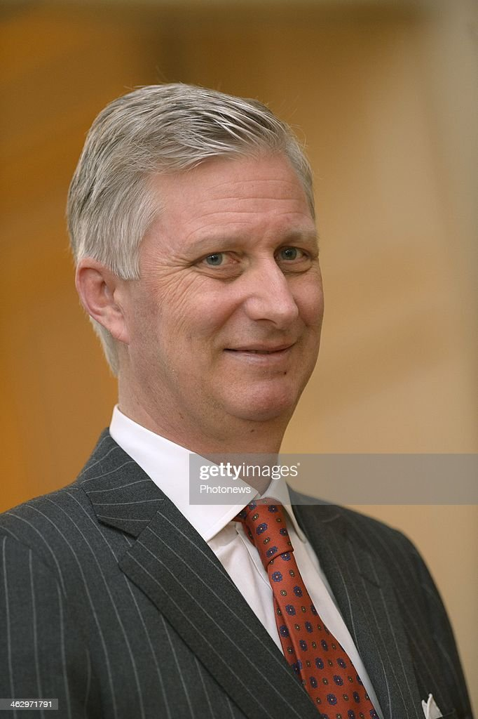 King Philippe and Queen Mathilde pictured during the New Year reception held for the members of the SHAPE and NATO based in Belgium on January 16, 2014 in Brussels, Belgium. A smiling King Philippe pictured during the reception.