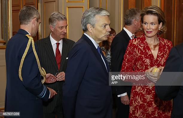 King Philippe Belgium VicePrime Minister and Foreign Minister Didier Reynders and Queen Mathilde of Belgium arrive for a reception by the Royal...