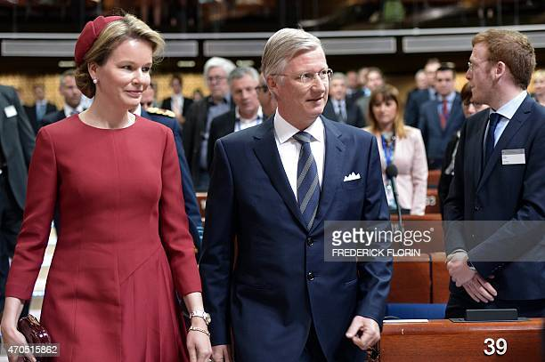 King Philippe Filip of Belgium and Queen Mathilde of Belgium arrive to deliver a speech to the Parliamentary Assembly of the Council of Europe in...