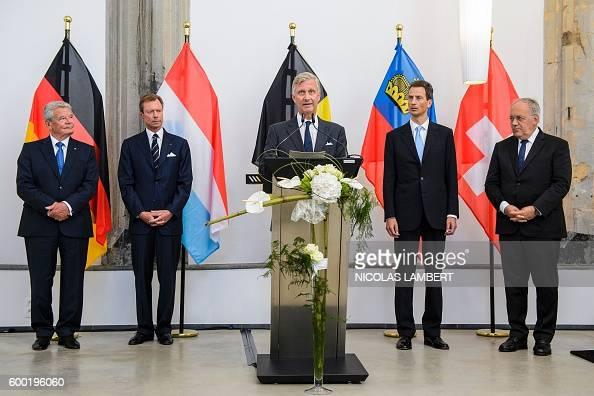 King Philippe Filip of Belgium delivers a speech next to German President Joachim Gauck Grand Duke Henri of Luxembourg Hereditary Prince of...