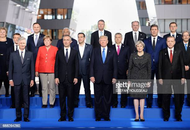 King Philippe Filip of Belgium NATO Secretary General Jens Stoltenberg US President Donald Trump Britain's Prime Minister Theresa May Turkish...