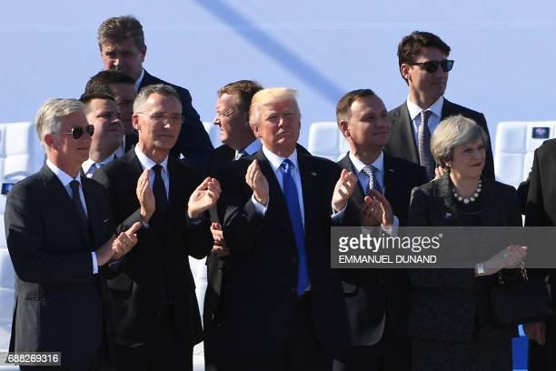 King Philippe Filip of Belgium NATO Secretary General Jens Stoltenberg US President Donald Trump Polish President Andrzej Duda Britain's Prime...