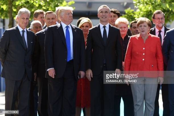 King Philippe Filip of Belgium US President Donald Trump NATO Secretary General Jens Stoltenberg German Chancellor Angela Merkel and Spanish Prime...